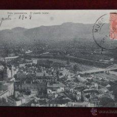 Postales: ANTIGUA POSTAL DE MURCIA. VISTA PANORAMICA. EL PUENTE NUEVO. CIRCULADA. Lote 43125170