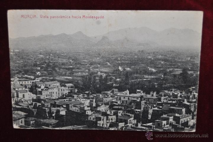 ANTIGUA POSTAL DE MURCIA. VISTA PANORAMICA HACIA MONTEAGUDO. FOTPIA. THOMAS. CIRCULADA (Postales - España - Murcia Antigua (hasta 1.939))