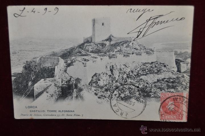 ANTIGUA POSTAL DE LORCA. MURCIA. CASTILLO, TORRE ALFONSINA. HAUSER Y MENET. CIRCULADA (Postales - España - Murcia Antigua (hasta 1.939))