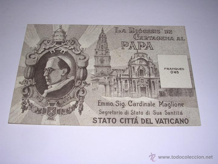 Postales: CARTAGENA - DIOCESIS DE CARTAGENA AL PAPA -DIA DEL PAPA 12 MARZO 1943 . 14X9 CM. - Foto 2 - 43977185