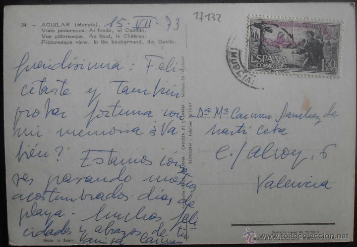 Postales: (17132)POSTAL ESCRITA,VISTA PINTORESCA,AL FONDO EL CASTILLO,AGUILAS,MURCIA,MURCIA,CONSERVACION:VER F - Foto 2 - 44224018