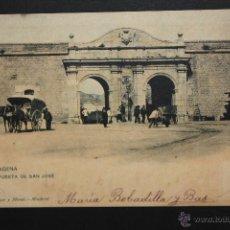 Postales: ANTIGUA POSTAL DE CARTAGENA. MURCIA. PUERTA DE SAN JOSÉ. FOTPIA. HAUSER Y MENET. CIRCULADA. Lote 44979464