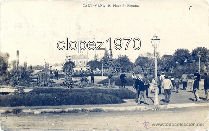 CARTAGENA, PLAZA DE ESPAÑA, CIRCULADA, CENSURA MILITAR ITALIANA, MUY RARA (Postales - España - Murcia Antigua (hasta 1.939))