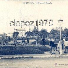 Postales: CARTAGENA, PLAZA DE ESPAÑA, CIRCULADA, CENSURA MILITAR ITALIANA, MUY RARA. Lote 47071571