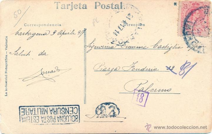 Postales: CARTAGENA, PLAZA DE ESPAÑA, CIRCULADA, CENSURA MILITAR ITALIANA, MUY RARA - Foto 2 - 47071571