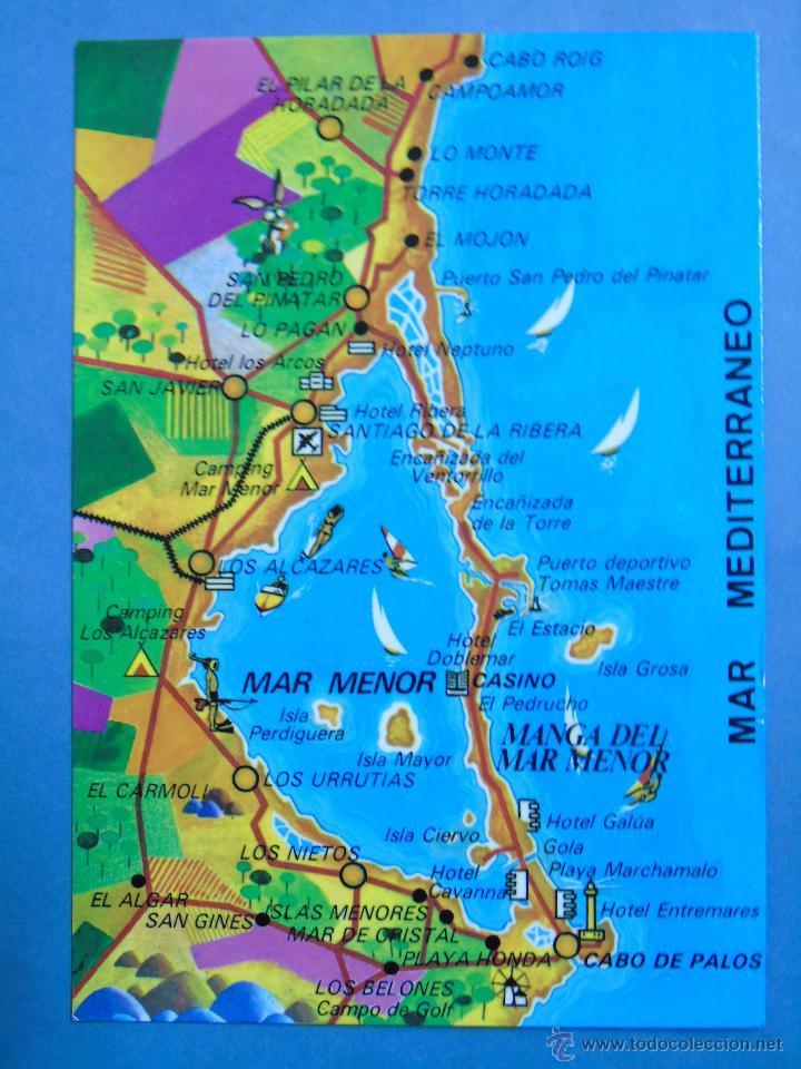 la manga del mar menor mapa postal de murcia. año 1989. mapa plano. manga d   Comprar Postales  la manga del mar menor mapa