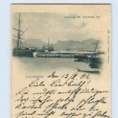 Postales: TARJETA POSTAL DE CARTAGENA. MUELLE DE ALFONSO XII. 155 HAUSER Y MENET. SIN DIVIDIR. Lote 50031186