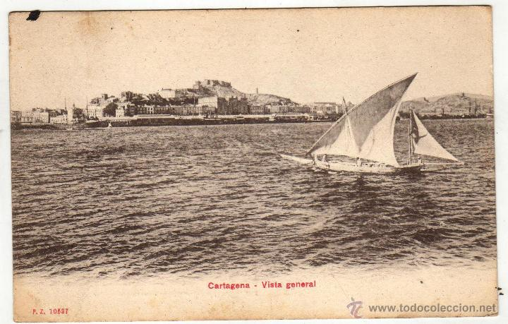 CARTAGENA 1909. VISTA GENERAL CON SELLO (Postales - España - Murcia Antigua (hasta 1.939))