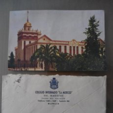 Postales: ANTIGUA POSTAL Y SOBRE MURCIA - COLEGIO INTERNADO LA MERCED - HERMANOS MARISTAS . Lote 51373765