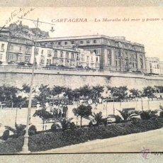 Postales: POSTAL ANTIGUA MURCIA. CARTAGENA. LA MURALLA DEL MAR Y PASEO DEL MUELLE. ESCRITA SIN CIRCULAR. . Lote 51830744
