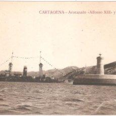 Postales: CARTAGENA ACORAZADO ALFONSO XIII Y EL FARO. Lote 54325492