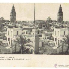 Postales: PS6033 MURCIA 'PANORAMA ET TOUR DE LA CATHÈDRALE'. ESTEROSCÓPICA. LL. SIN CIRCULAR. PRINC. S. XX. Lote 51731895