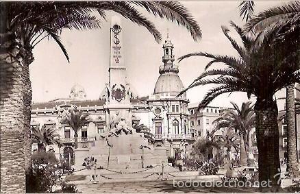 ANTIGUA POSTAL 1010 CARTAGENA MONUMENTO A LOS HEROES DE CAVITE Y AYUNTAMIENTO EDICIONES ARRIBAS (Postales - España - Murcia Moderna (desde 1.940))