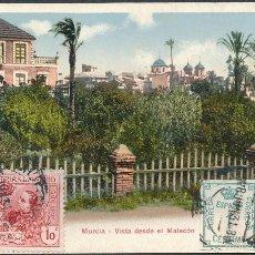 Postales: POSTAL MURCIA, VISTA DESDE EL MALECÓN.1931 SELLO EXPOSICIÓN DE INDUSTRIAS DE MADRID EDIFIL SR1. Lote 55701992
