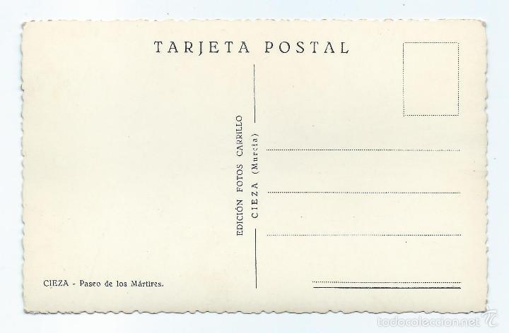 Postales: CIEZA, MURCIA. POSTAL. CIEZA, MURCIA. PASEO DE LOS MÁRTIRES. EDICIÓN FOTOS CARRILLO. - Foto 2 - 60153031