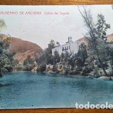 Postales: RARA POSTAL COLOREADA DE LAS ORILLAS DEL SEGURA EN EL BALNEARIO DE ARCHENA MURCIA. Lote 62768456