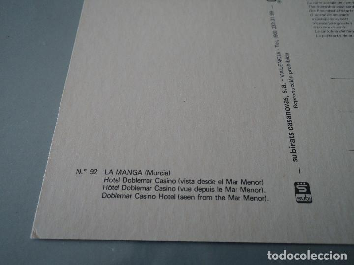 Postales: Nº 92 - LA MANGA (MURCIA) - HOTEL DOBLEMAR CASINO (VISTA DESDE EL MAR MENOR - Foto 2 - 77593201