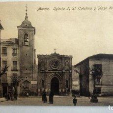 Postales: POSTAL MURCIA - IGLESIA DE ST CATALINA Y PLAZA DE MANASOT. Lote 84722128
