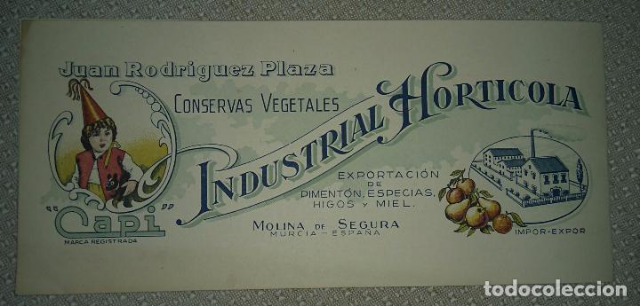INDUSTRIAL HORTICOLA PIMENTON MOLINA DE SEGURA MURCIA (Postales - España - Murcia Moderna (desde 1.940))