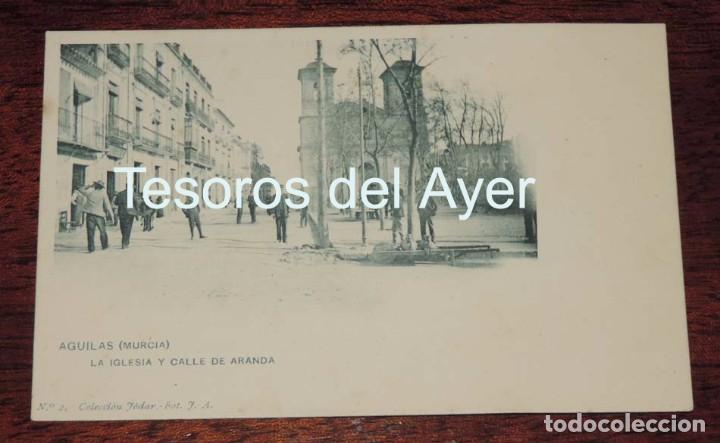 POSTAL DE MURCIA. AGUILAS. LA IGLESIA Y CALLE DE ARANDA. COLECCION JODAR N.2. FOT. J. A. NO CIRCULAD (Postales - España - Murcia Antigua (hasta 1.939))