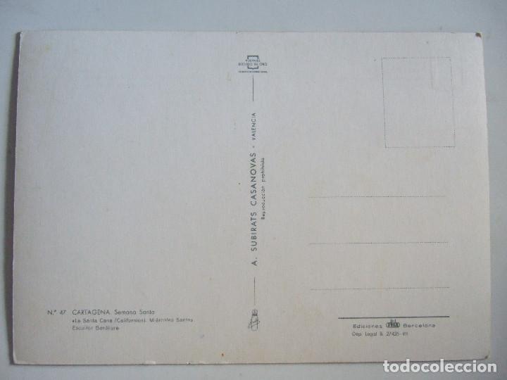 Postales: POSTAL MURCIA - CARTAGENA - SEMANA SANTA - LA SANTA CENA - MIERCOLES SANTO CALIFORNIOS - 1964 - Foto 2 - 98050035