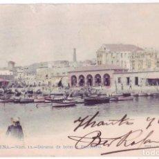Postales: CARTAGENA (MURCIA): DÁRSENA DE BOTES Y PESCADERÍA. FOT. LAURENT. SIN DIVIDIR. CIRCULADA (1904). Lote 98652479