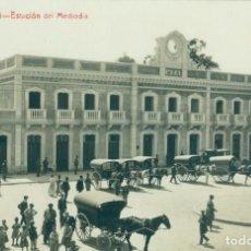 Postales: MURCIA. ESTACION DEL MEDIODÍA CARRUAJES DE CABALLOS. ANDRÉS FABERT.FOTOGRÁFICA MUY RARA.. Lote 101746807