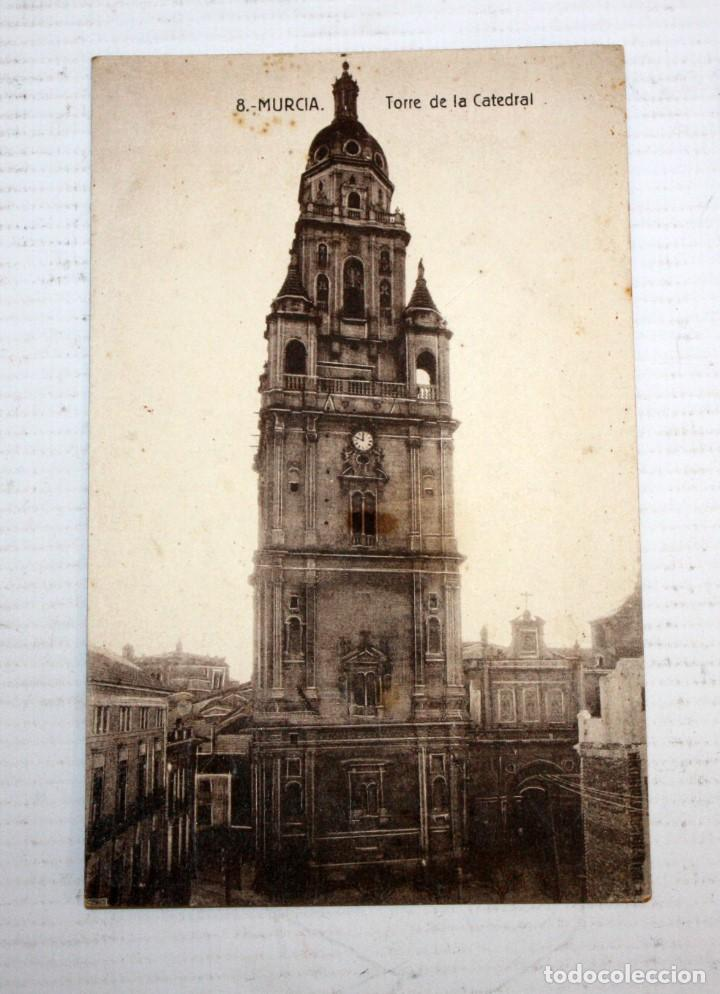 ANTIGUA POSTAL DE MURCIA. TORRE DE LA CATEDRAL. CIRCULADA (Postales - España - Murcia Moderna (desde 1.940))