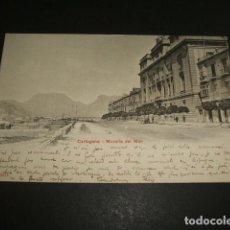 Postales: CARTAGENA MURCIA MURALLA DEL MAR ED. P. Z. Nº 10535 REVERSO SIN DIVIDIR CIRCULADA EN 1906. Lote 110070155