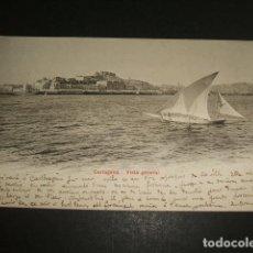 Postales: CARTAGENA MURCIA VISTA GENERAL ED. P. Z. Nº 10537 REVERSO SIN DIVIDIR CIRCULADA EN 1906. Lote 110070263
