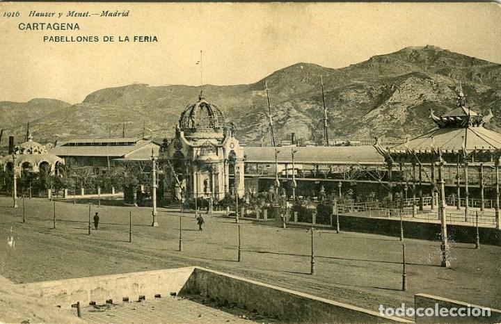CARTAGENA. PABELLONES DE LA FERIA. EDICIÓN HAUSER Y MENET Nº1916. REVERSO SIN PARTIR. (Postales - España - Murcia Antigua (hasta 1.939))