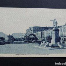Postales: POSTAL DE CARTAGENA ( MURCIA ) MONUMENTO A COLON Y MURALLA DEL MAR / EDICION CASAU / ESCRITA. Lote 115107815