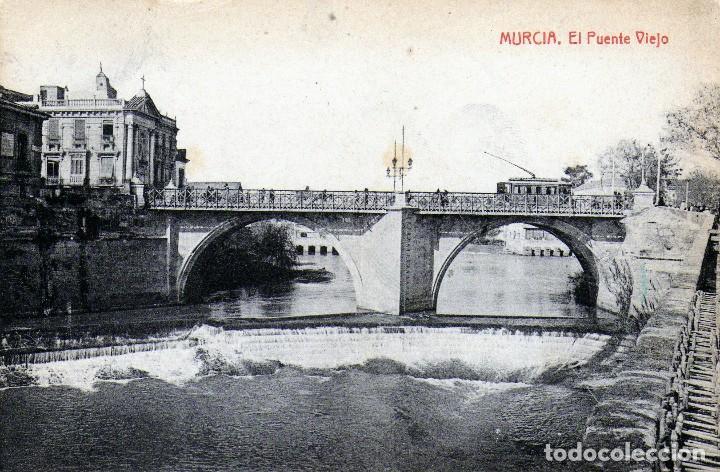 MURCIA - PUENTE VIEJO AÑOS 20 - POSTAL RARA DORSO EN BLANCO (Postales - España - Murcia Antigua (hasta 1.939))
