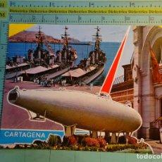 Postales: POSTAL DE MURCIA. AÑO 1967. CARTAGENA, FLOTA CUARTEL Y SUBMARINO PERAL. 1640. Lote 124613727