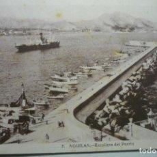 Postales: POSTAL AGUILAS -ESCOLLERA DEL PUERTO CM. Lote 126744171