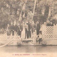 Postales: BALNEARIO DE ARCHENA. BARCA SOBRE EL SEGURA 1918. Lote 128064315
