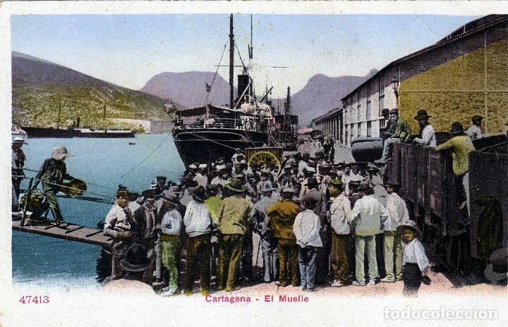 PRECIOSA POSTAL DE CARTAGENA - EL MUELLE - REVERSO SIN DIVIDIR ANTERIOR A 1906 COMPLETAMENTE NUEVA. (Postales - España - Murcia Antigua (hasta 1.939))