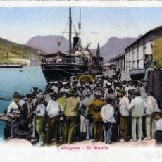 Postales: PRECIOSA POSTAL DE CARTAGENA - EL MUELLE - REVERSO SIN DIVIDIR ANTERIOR A 1906 COMPLETAMENTE NUEVA.. Lote 128982803