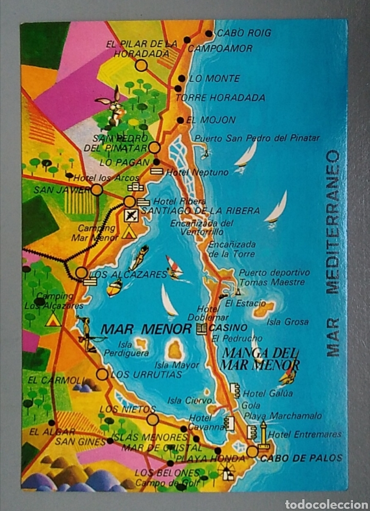 Bonita Postal Murcia Costa Calida Mapa 1989 Buy Postcards From