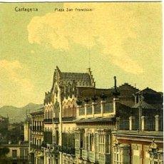 Postales: CARTAGENA (MURCIA). PLAZA SAN FRANCISCO. NO CONSTA EDITOR. CROMOLITOGRAFÍA.. Lote 131063712
