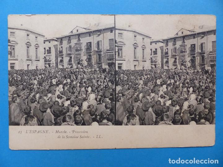 MURCIA, PROCESION DE LA SEMANA SANTA - POSTAL ESTEREOSCOPICA - L. LEVY (Postales - España - Murcia Antigua (hasta 1.939))