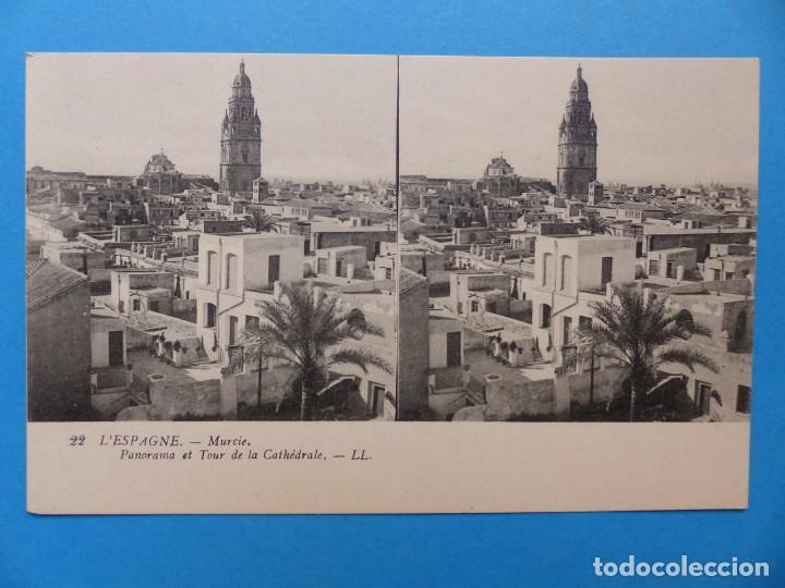 MURCIA, PANORAMA Y TORRE DE LA CATEDRAL - POSTAL ESTEREOSCOPICA - L. LEVY (Postales - España - Murcia Antigua (hasta 1.939))