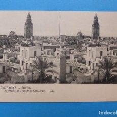 Postales: MURCIA, PANORAMA Y TORRE DE LA CATEDRAL - POSTAL ESTEREOSCOPICA - L. LEVY. Lote 138592046