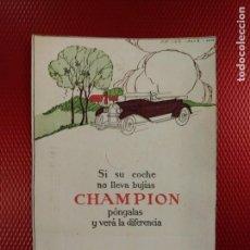 Postales: POSTAL CON PUBLICIDAD DE CHAMPION BUJIAS. FRANCISCO FLORES ESPINARDO MURCIA. CIRCULADA. Lote 143305162