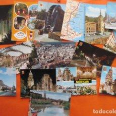 Postales: MURCIA - - 15 POSTALES - 9 CIRCULADAS MATASELLOS Y SELLO AÑOS 1960 A 90. Lote 144097234