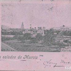Postales: SINCEROS SALUDOS DE MURCIA-CIRCULADA EN 1900 CON PELON. Lote 147817086
