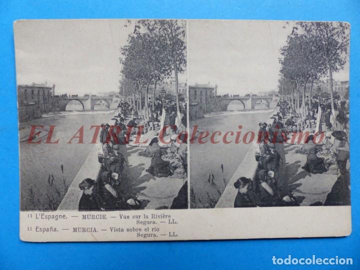MURCIA, VISTA SOBRE EL RIO SEGURA - POSTAL ESTEREOSCOPICA - L. LEVY (Postales - España - Murcia Antigua (hasta 1.939))
