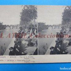 Postales: MURCIA, VISTA SOBRE EL RIO SEGURA - POSTAL ESTEREOSCOPICA - L. LEVY. Lote 147836798