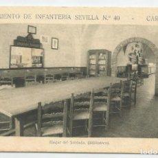 Postales: REGIMIENTO SEVILLA 40 CARTAGENA-HOGAR DEL SOLDADO-SIN CIRCULAR-MBC. Lote 149521426