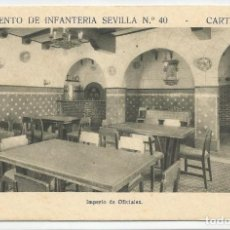 Postales: REGIMIENTO SEVILLA 40 CARTAGENA-IMPERIO DE OFICIALES-SIN CIRCULAR-MBC. Lote 149521862